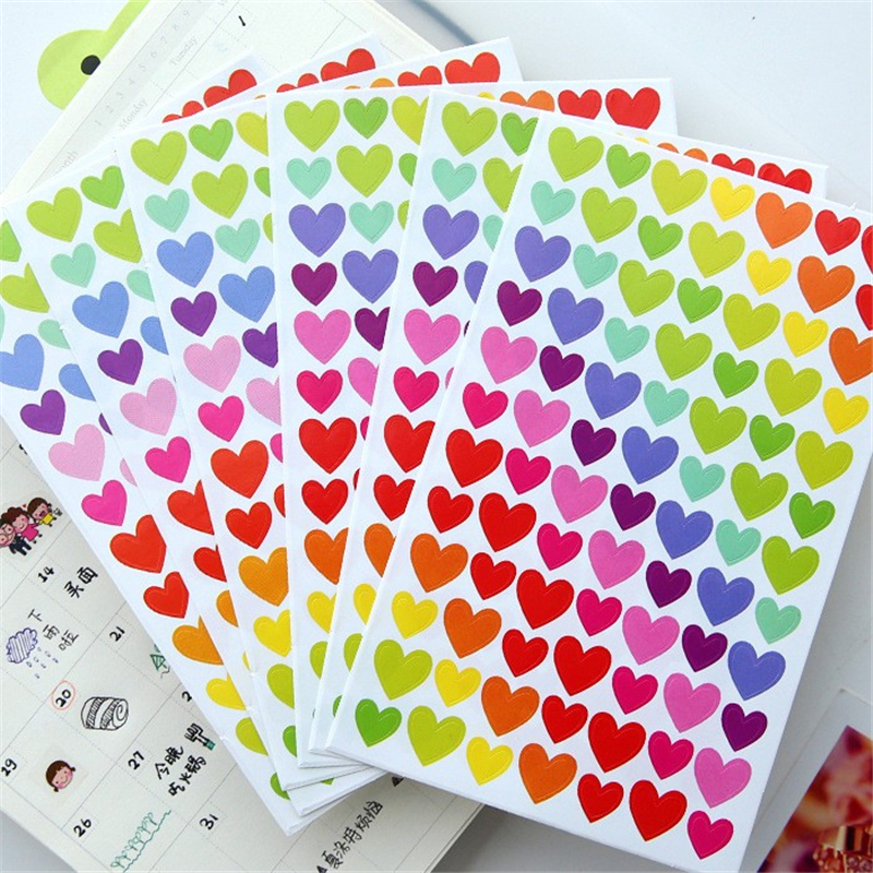 DIY Cute Kawaii Colorful Paper Sticker Lovely Heart Decorative Adhesive Stickers For Kids Gift Scrapbooking Diary Decoration image