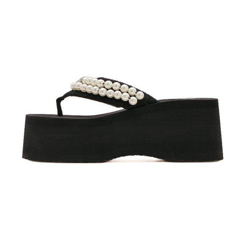 RizaBina Summer Shoes Women Pearl Flip Flops Shoes Women Thick Platform Soft Beach Slippers Women Leisure Footwear Size 35-39