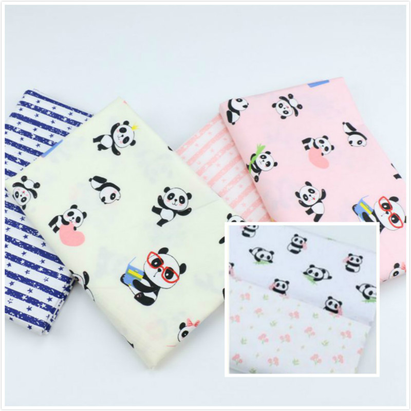 Cartoon panda Fabric childrens bedding cotton  for sewing upholstery patchwork quilting dress making cloth