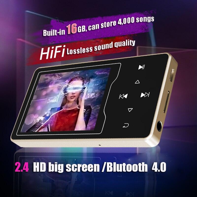 Version de mise à niveau du bouton tactile D08 MP4 lecteur avec Bluetooth 2.4 pouces HD écran sans perte 16 GB haut-parleur e-book FM lecteur MP4
