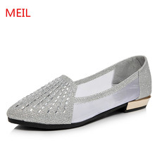 Hot selling summer flat sandals shoes women 2018 new Rhinestones fashion ladies woman chaussures femme