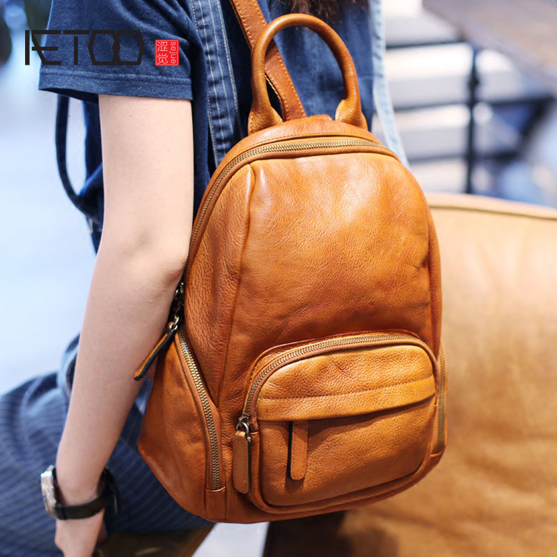 AETOO Original retro art hand first layer of leather shoulder bag Korean casual wild college wind backpack leather bags women aetoo first layer of leather shoulder bag female bag korean version of the school wind simple wild casual elephant pattern durab