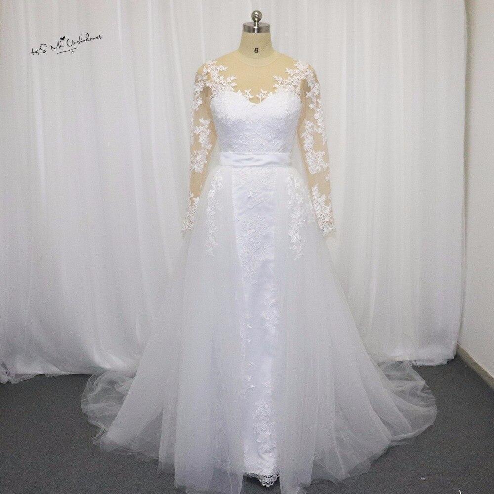 Unique Design Detachable Skirt Wedding Dress Long Sleeve