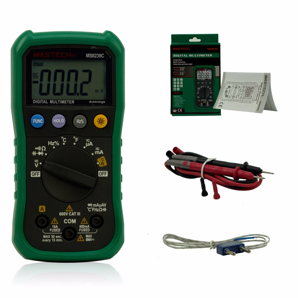 MASTECH Digital Multimeter MS8239C Backlight AC/DC Ammeter Voltmeter Ohm Portable Meter auto range Digital amperemeter Tester mastech ms2008a auto range digital ac clamp meter ammeter voltmeter ohmmeter with lcd backlight