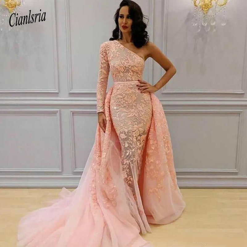 One Shoulder Mermaid   Evening     Dresses   With Detachable Train 2019 Dubai Formal Gowns Muslim Prom   Dresses   Pageant Party Gowns