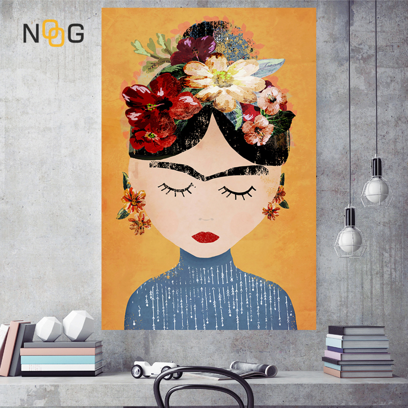 NOOG Cuadros style Nordic Decoration Wall Art Canvas Posters and Prints Canvas Painting Picture for Living Room Self Portrait in Painting Calligraphy from Home Garden