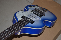 2016 HOT selling!new arrived custom OEM 4 string white and blue color bass+free shipping