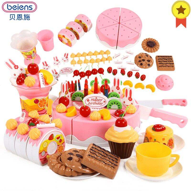 Pretend cocina Juguetes Juegos de imaginación corte de la torta de cumpleaños 42-75 piezas niños juguete educativo frutas comida corte para niñas Beiens