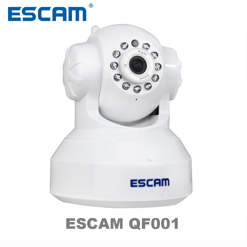 ESCAM QF001 with Plug&Play P2P Wireless WiFi Pan Tilt IR Cut Two Way Audio Micro SD Card Slot 720P HD onvif IP CAMERA escam hd 720p wireless ip camera wifi pan tilt two way audio p2p ir cut night vision onvif cloud home security camera sd card
