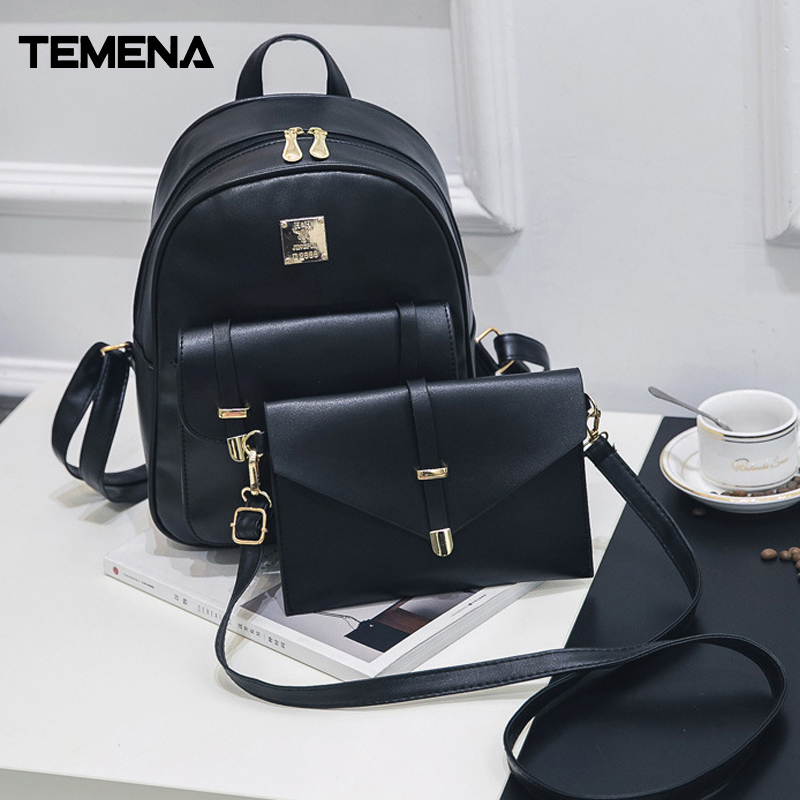 Temena 3Pcs/set Fashion Composite Bag Pu Leather Backpack Women Cute Bag School Backpacks For Teenage Girls Black Bags ABP357 hot sale pu leather backpack women backpack fashion black backpacks for teenage girls school bags famous brand women bag mochil