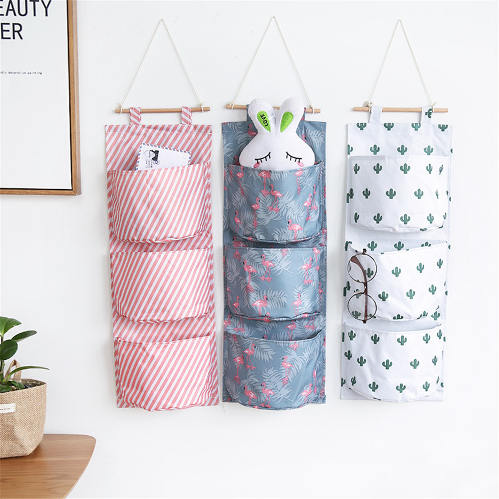Multifunctional 3 Pockets Cotton Linen Wall Hanging Storage Bags Cactus Flamingo Pattern Storage Box Home Decoration Hanging Bag