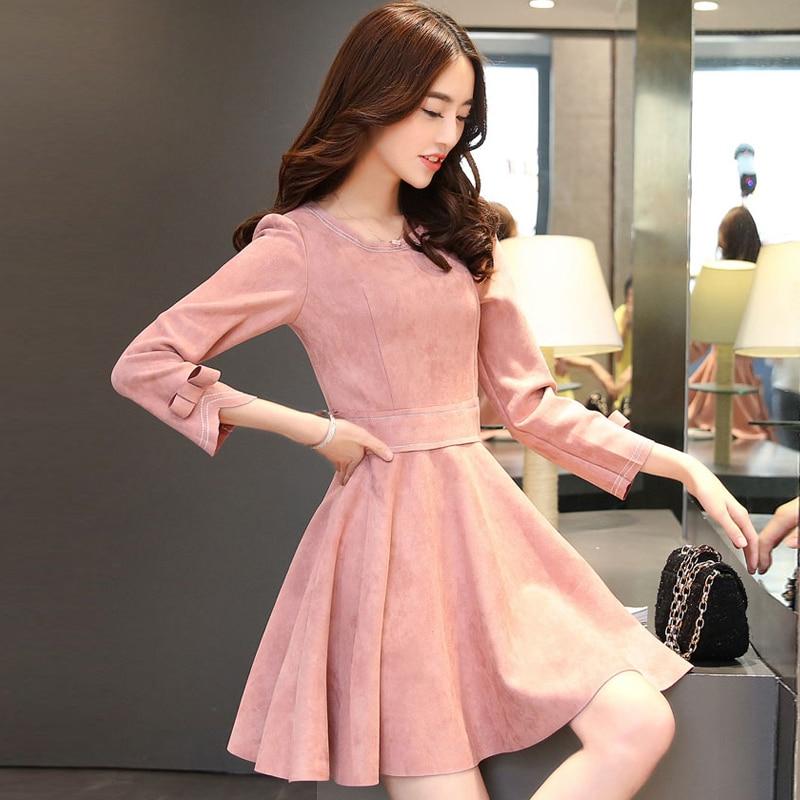 2018 spring new suede long-sleeved dress Slim thin A line bow dress O neck big swing lady elegant vintage pink dresses 50s 60s