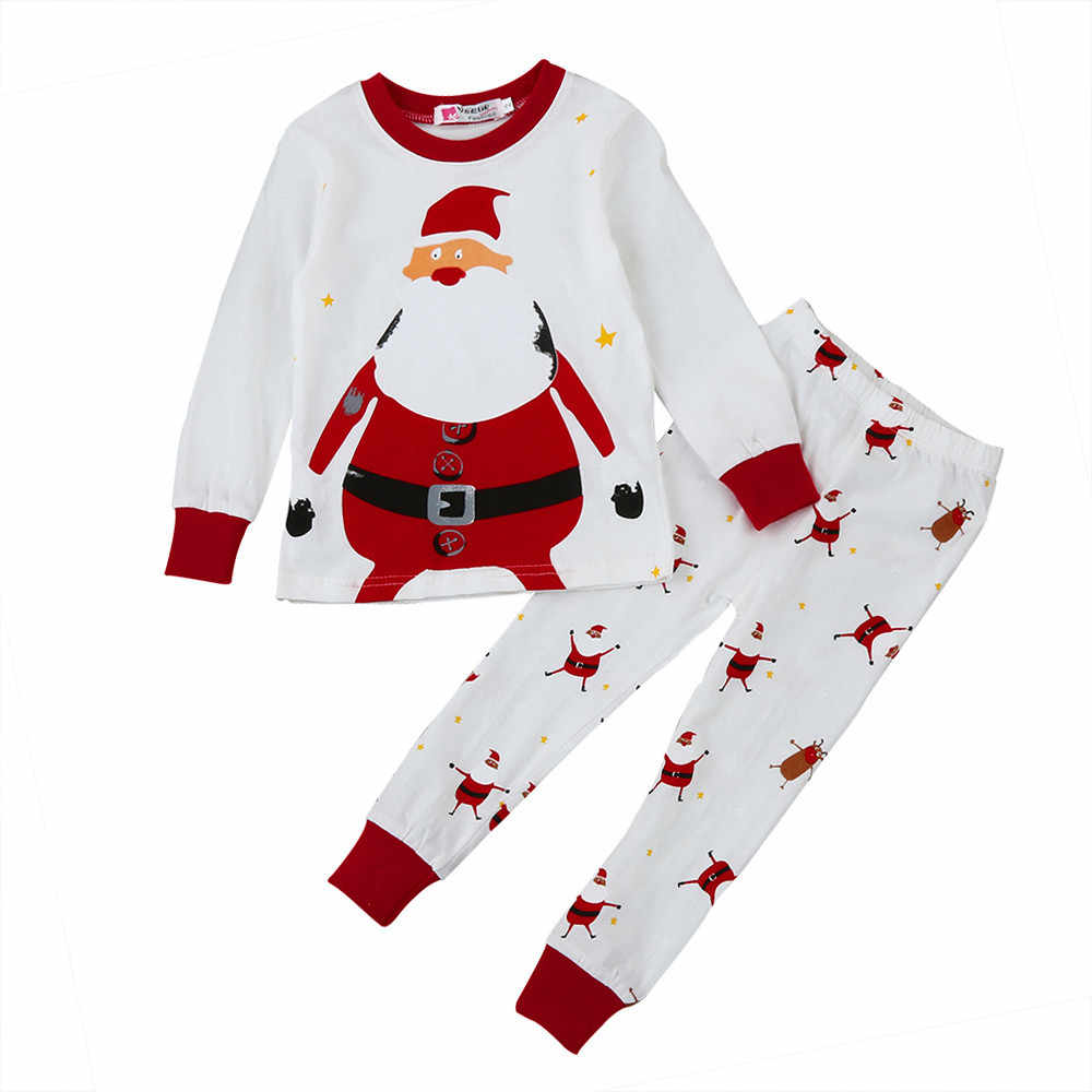 2018 Christmas Children Super Warm Cotton Clothing Suit Baby Girls Boys Deer Pyjamas T-shirt Stripe 2pcs Kids Pajamas Set 827