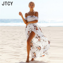 JTCY XS-5XL Plus Size Off Shoulder Floral Boho Style Beach Women Dress Slash Neck Split Print Summer Maxi Female Dress vestidos