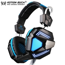 EACH G5200 blue and black Vibration Stereo Bass Gaming Headphone Headset with Mic Colorful Breathing lights for PC/Computer