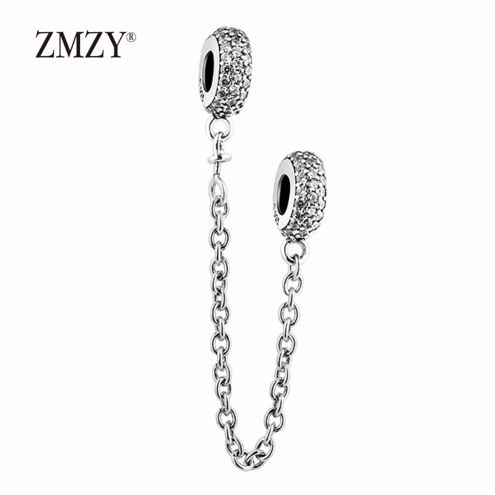 ZMZY 100% Authentic 925 Sterling Silver Charms Full CZ Crystal Safety Chain Beads Fit Pandora Bracelet for Women DIY Jewelry