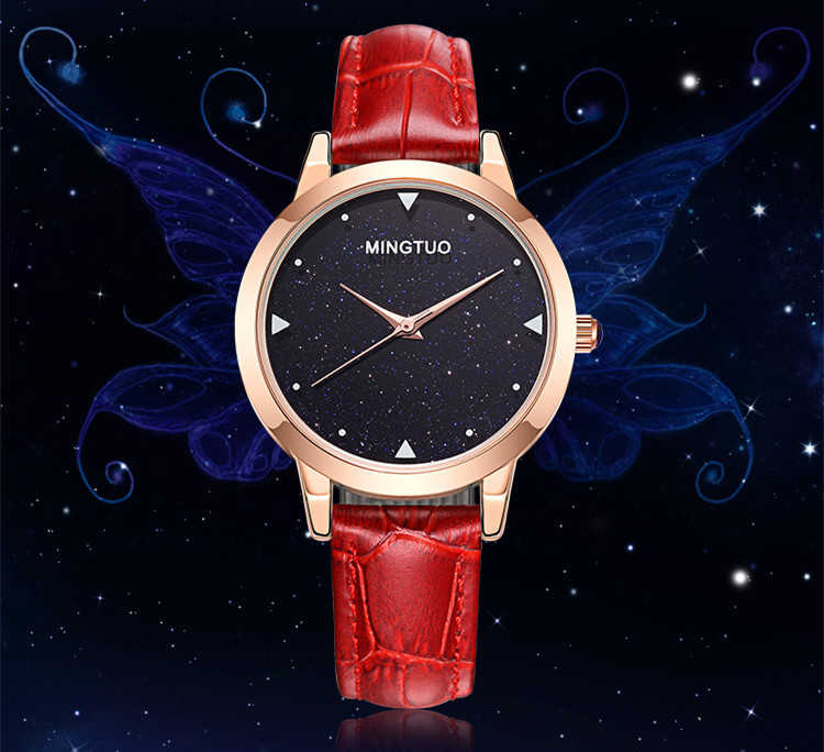 New Fashion Kyanite Face Women Watches Korean Simple Girls Students Leather Wrist watch Quartz Night Sky Montre Femme Reloj W081 2017 new colorful boys girls students time electronic digital wrist sport watch drop shipping 0307