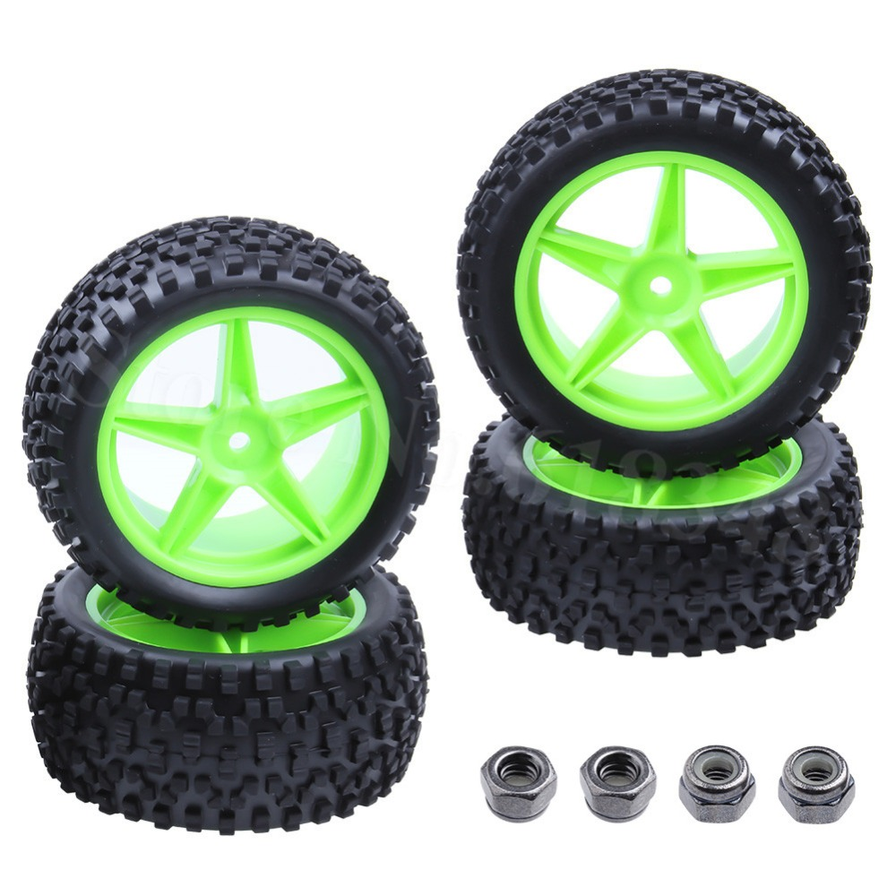 4x Soft Rubber RC Buggy Tires & Wheel Rims 12mm Hex Front Rear For 1:10 Model Car Nitro Electric Power Fit HSP Backwash Warhead
