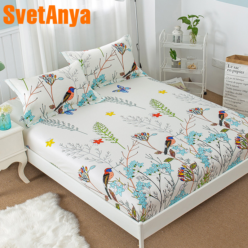 Birds Floral Print 3pc Sheets Set Twin Queen King Size Fitted Bedsheet With Elastic Band 100% Cotton Mattress Cover+ Pillowcases