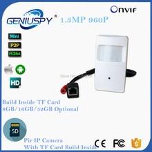 HD 1280*960P 1.3MP 3.7mm Lens Security Indoor Mini PIR Shell Surveillance Camera IP Network CCTV Camera TF Card Slot P2P Onvif