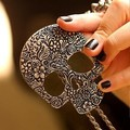 Free Shipping Retro Gothic skull pendant necklace sweater chain European and American jewelry