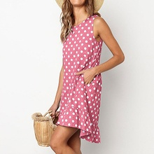 Women Summer Dress Fashion Sexy Loose Sleeveless Dot Printed All-match Concise Casual Dresses