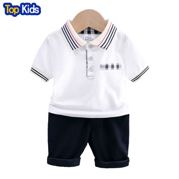 Baby boys sets summer short sleeve cotton solid clothes tops+shorts 2pcs little kids children clothing casual outfits 2-6 MB504 1