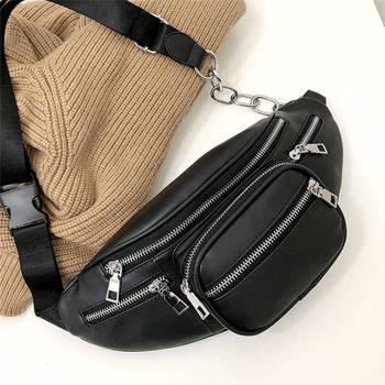 Black  Faux Leather Waist Bag Cell Phone Belt Bag Fanny Pack Bum Bag For Women Men mara s dream quality waist pack for men women casual functional fanny pack bum bag hip money belt traveling mobile phone bag