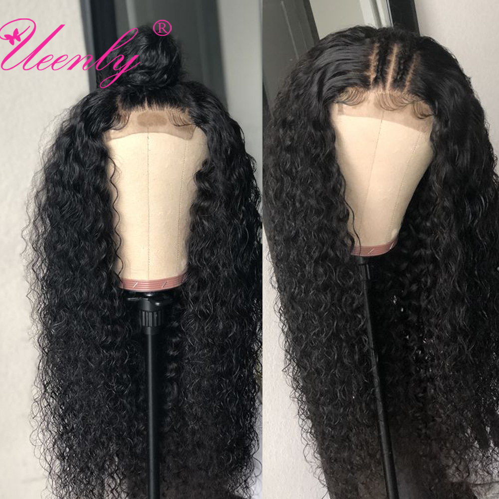UEENLY Closure Wig Human-Hair-Wigs Lace Curly Pre-Plucked Kinky Brazilian 4x4 with Baby