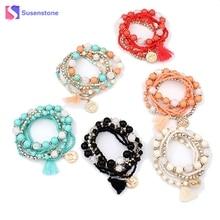 susenstone Bohemian Multilayer Imitation Bead Bracelet Crystal Beads Bangle Tassel Elastic Bracelets Bangles Set for women Gifts
