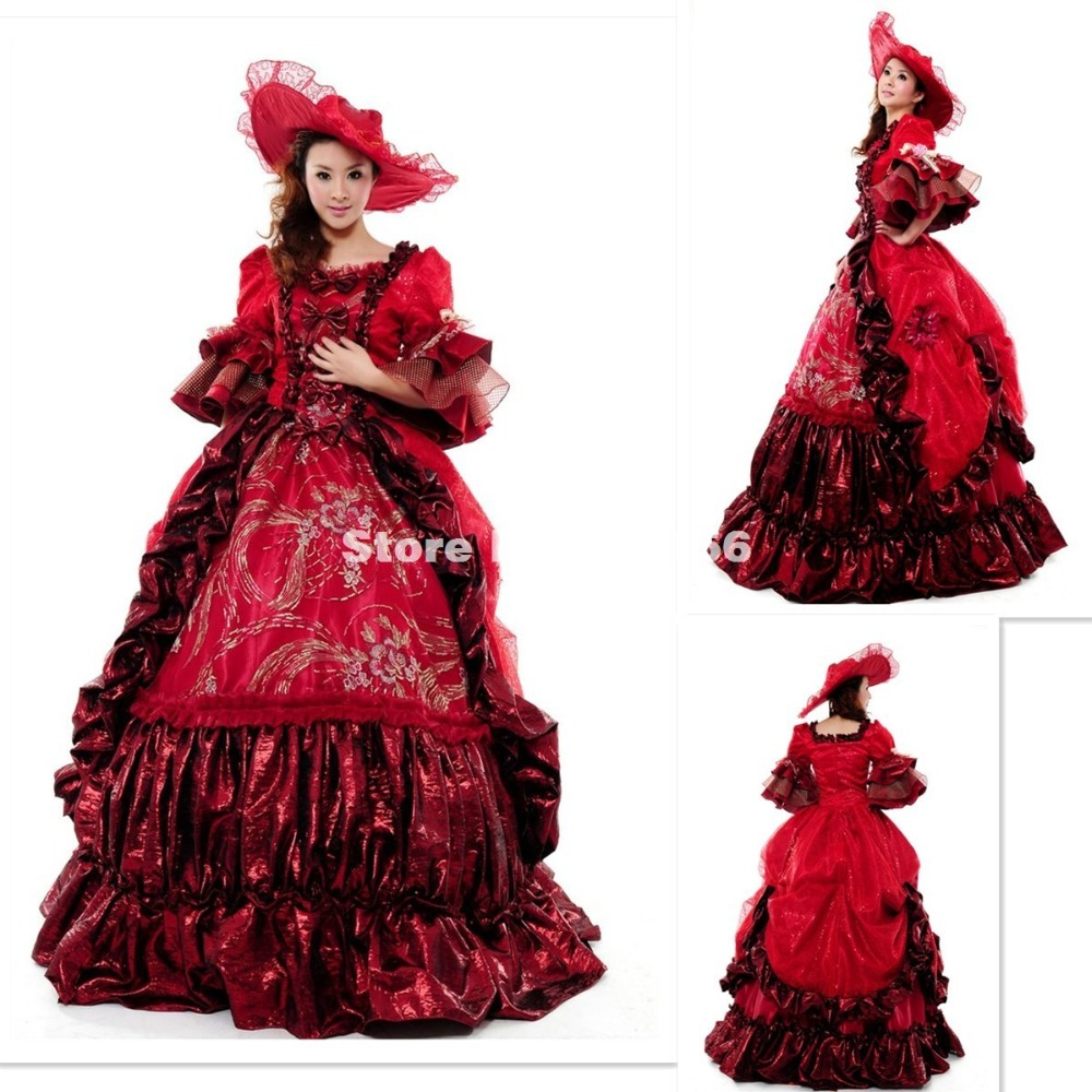 Popular victorian wedding dresses buy cheap victorian wedding - High End Red Floral Marie Antoinette Wedding Party Dress 17th 18th Century Medieval Victorian Carnivale