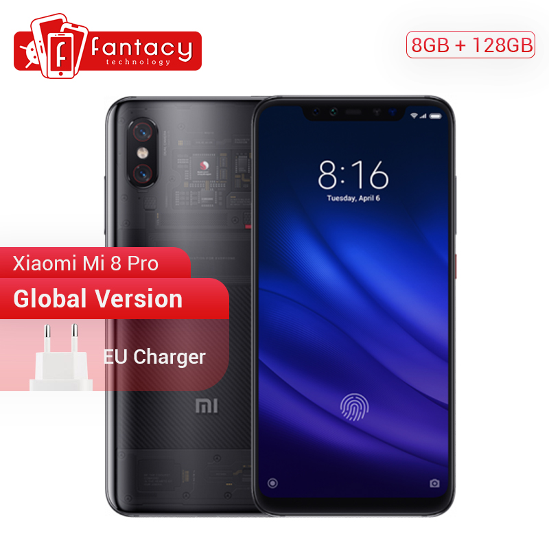Global Version Xiaomi Mi 8 Pro 8GB 128GB Screen Fingerprint Snapdragon 845 Octa Core 6.21 Smartphone Dual Camera QC4.0 3000mAh
