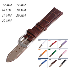 Leather Watch Band BINZI 2017 New Durable Watchbands 12mm 14mm 16mm 18mm 20mm 22mm Woman Man Belts 9 color band
