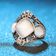 Bague de fiançailles en opale Vintage, bijoux couleur argent, cadeaux pour femmes, tendance punk