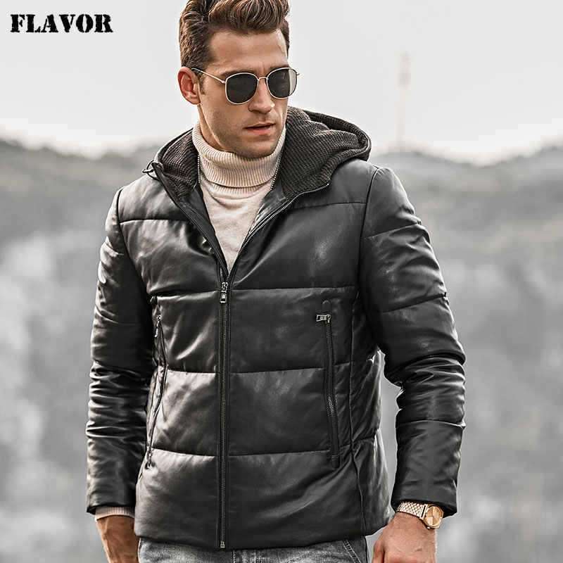 FLAVOR Men's Genuine Leather Down Coat Men Lambskin Biker Winter Warm Leather Coat with Hood