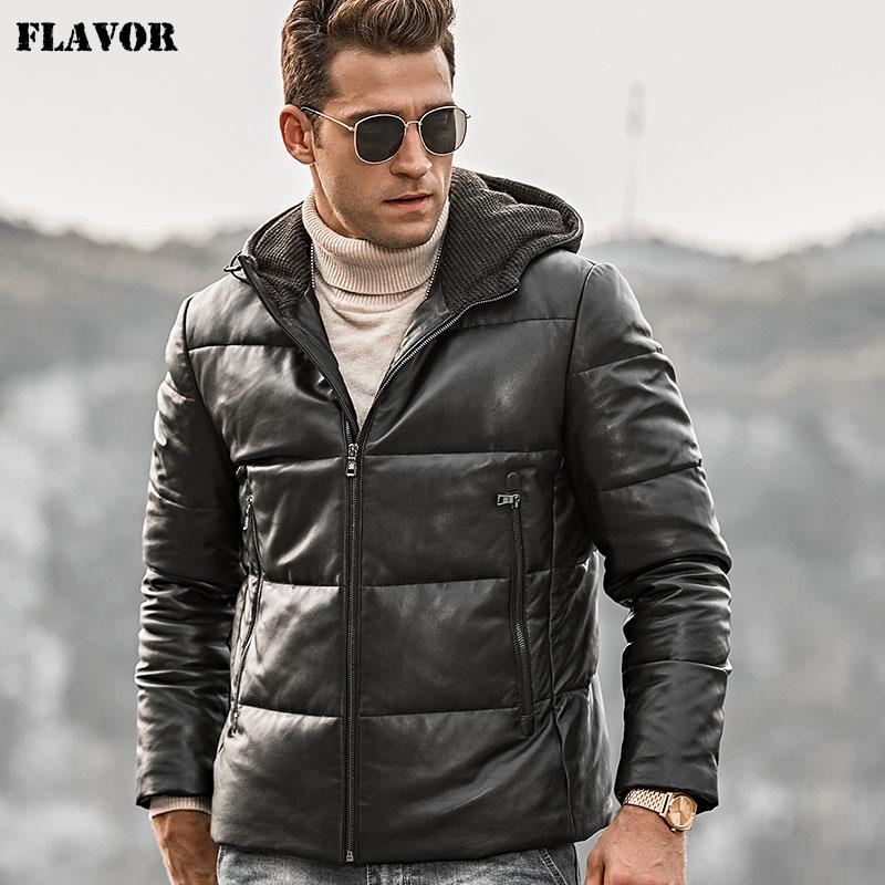 Saveur hommes en cuir véritable manteau en duvet hommes en peau d'agneau Biker hiver manteau en cuir chaud avec capuche