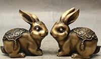 bronze Decoration Pure Brass Good value Lucky China Folk Fengshui Bronze Money Wealth Fu Rabbit Animal Auspicious Statue Pair