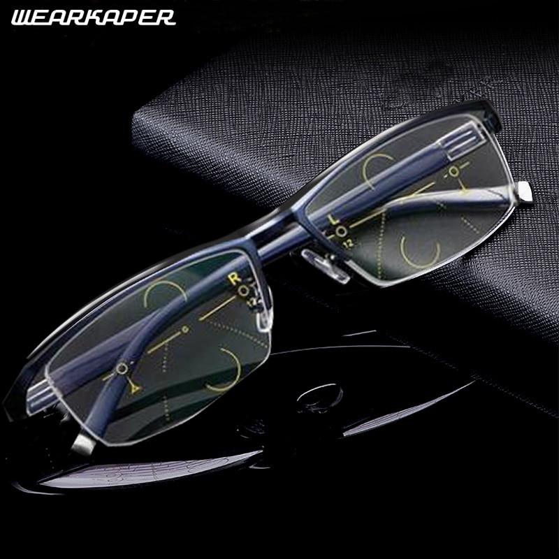 WEARKAPER Smart Progressive Sun Photochromic Multifocal Reading Glasses near and far Multifunction glasses Bifocal Eyewear 1.0-3