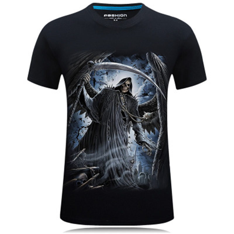 Summer T Shirts Men Grim Reaper 3D Printed Sickle Causal Short Sleeve T-shirts Male Tees Round Neck Hip Hop Pullover Top