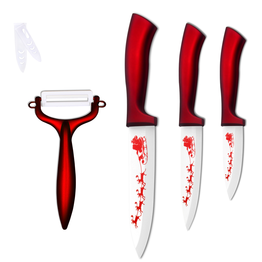 XYj 3, 4, 5 Inch Ceramic Knife Set Red Handle Kitchen