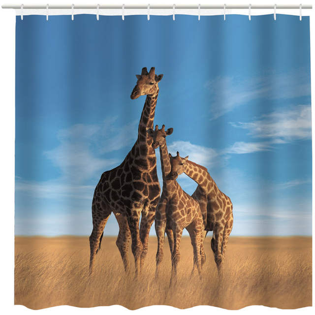 Animal Elephant Giraffe Bear Parrot Frog Unicorn Swan Shower Curtain Waterproof Polyester Fabric Bath Curtains Bathroom