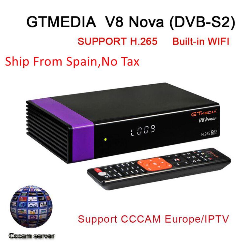 V8 Honra Gtmedia V8 NOVA HD 1080 P Receptor de Satélite Europa Clines para 1 Ano Espanha Construído Wi-fi Dongle Antena PK DVB-T2 Receptor
