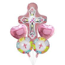1 conjunto de páscoa cruz redonda balões da folha hélio inflável pentecostes jesus cruz ovo látex decoração da páscoa balões balões de ar