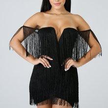 2019 Summer Women's Dress dew Dress Sexy Fringe Bag Hip Dress fringe cami dress