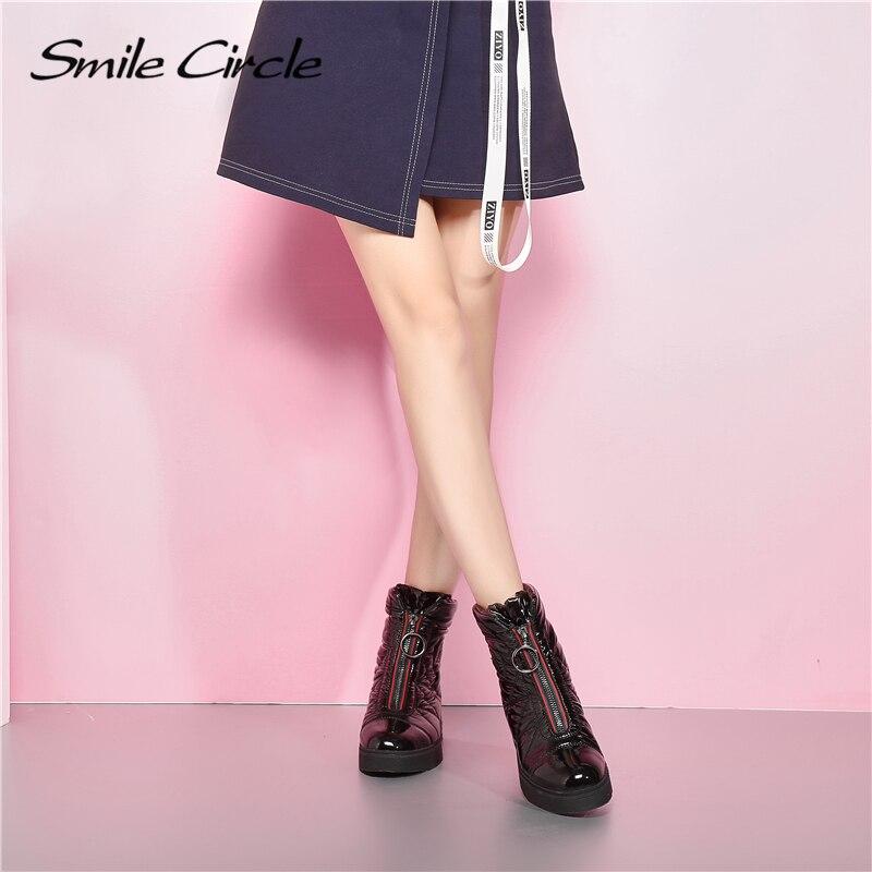 2019 bottes d'hiver femmes bottes de neige chaud vers le bas chaussures facile à porter fille blanc noir zip plate forme chaussures grosses bottes sourire cercle - 4