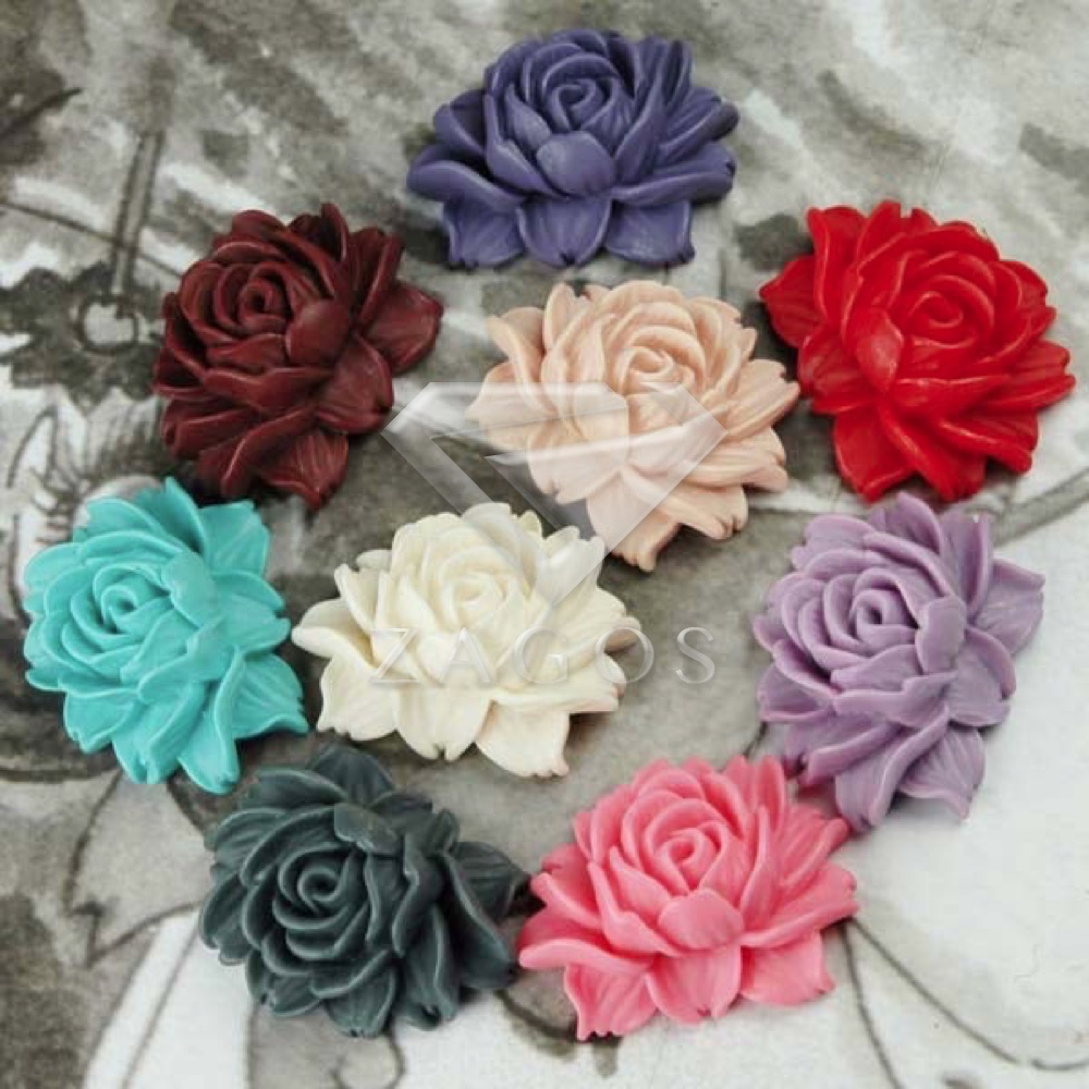 2/9Pcs Resin Vintage Style Flowers Flat Back Cabochon 46x36x18mm For Jewelry Accessories Wholesale RB0541