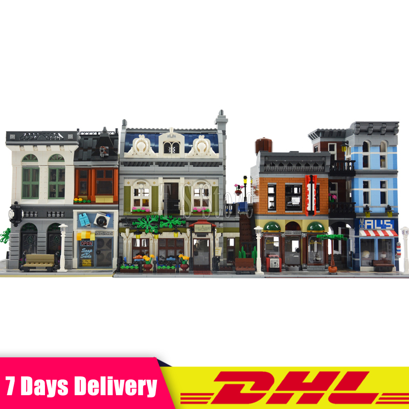 2018 3Pcs/Lot DHL City Town Street LEPIN 15001 Bank 15010 Parisian Restaurant 15011 Detectives Office Model Building Kit Blocks