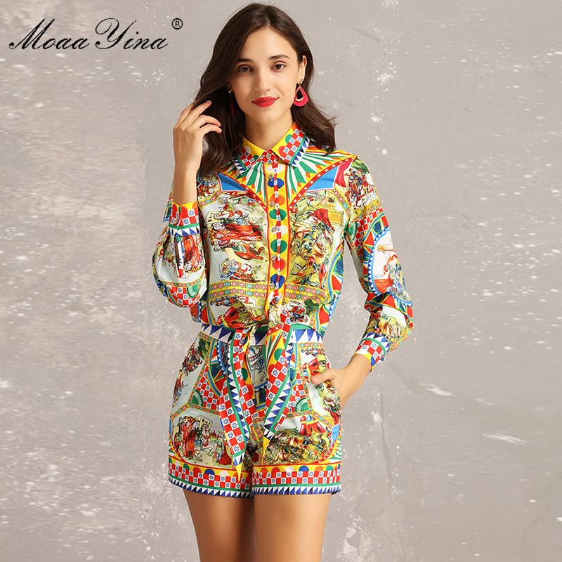 MoaaYina Fashion Designer Set Summer Women Long sleeve Vintage Character Plaid Print Blouse Sexy Runway Shorts