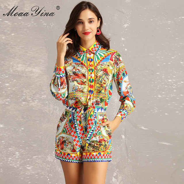 MoaaYina Fashion Designer Set Summer Women Long sleeve Vintage Character Plaid Print Blouse+Sexy Runway Shorts Two-piece suit