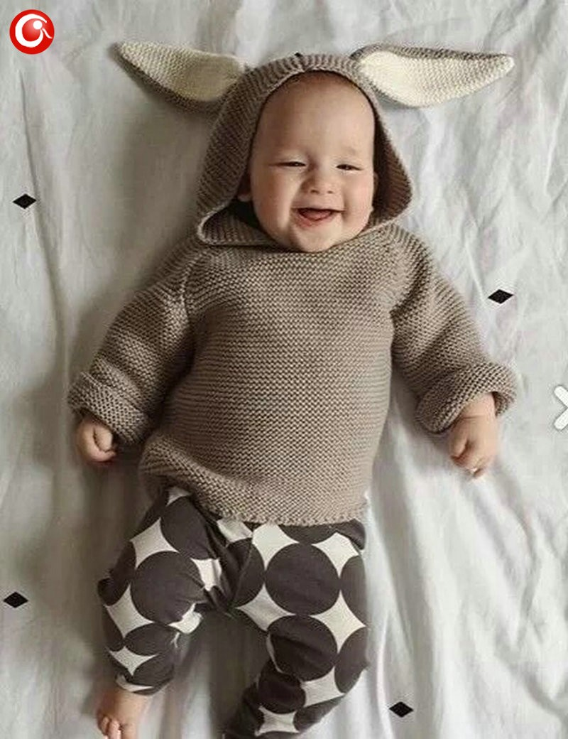 Autumn Crocheted Knitting 3D Rabbit Pattern Baby Girls Cardigan Children Toddler Boys Cotton Sweater Kids Warm Jumper 1-5Y (1)